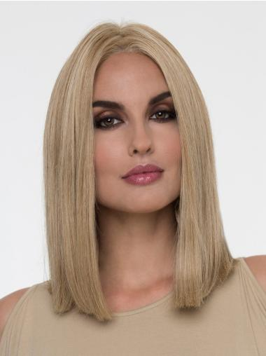 "Blonde Without Bangs Shoulder Length 14"" Monofilament Wig Sale"