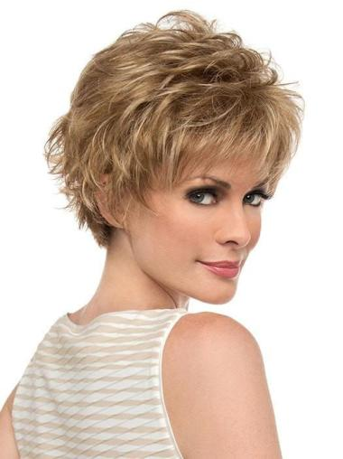 """Blonde With Bangs Short 6"""" Monotop Wigs"""