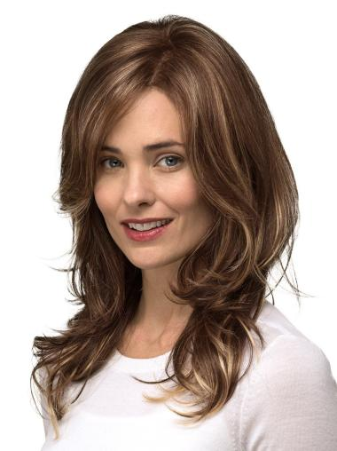 "Brown Layered Long 14"" Mono Top Wigs Cheap"