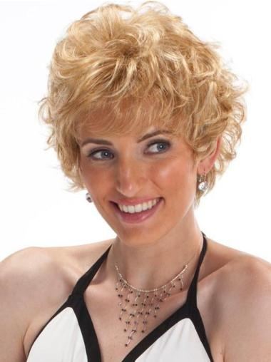 """8"""" Cropped Boycuts Synthetic Womens Blonde Wigs"""
