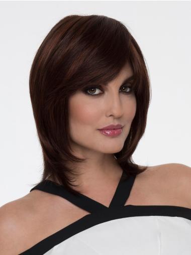"Auburn With Bangs Shoulder Length 12"" Cheap Monofibre Wigs"