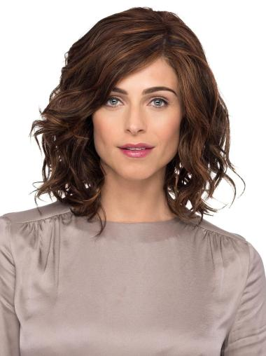 """Brown With Bangs Shoulder Length 12"""" Monofilament Ladies Wigs"""