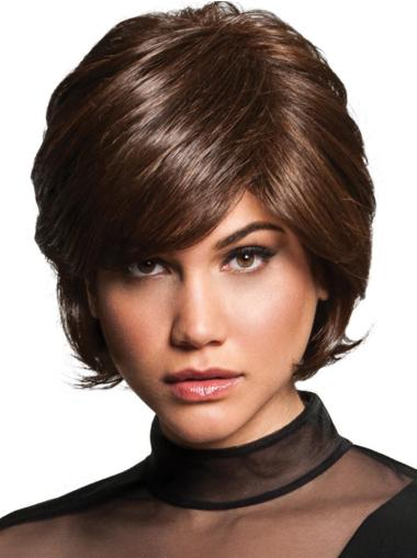 """Layered 8"""" Short Brown Capless Ladies Synthetic Wigs"""