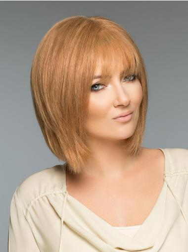 "Monofilament With Bangs 11"" Chin Length Wigs Human Hair"