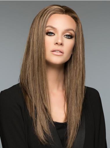 """100% Hand-tied Without Bangs 18"""" Long Human Hair Wigs For Women"""