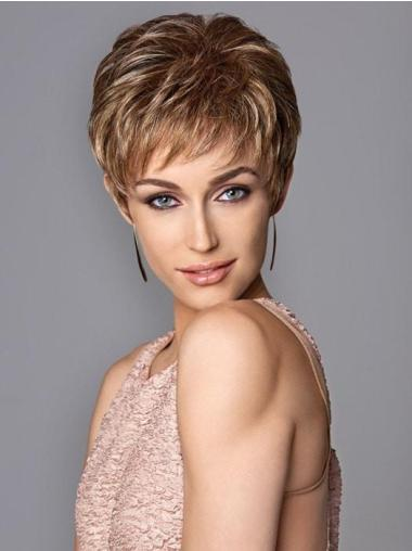 Capless Brown Synthetic Short Pixie Wigs