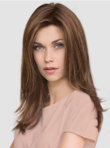 "Brown Layered Long 16"" Mono Wigs"