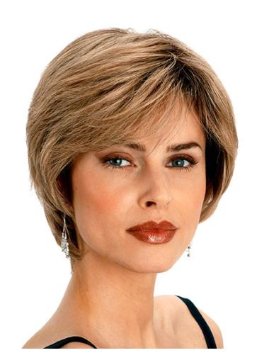 Short Blonde Wavy Real Hair Wigs
