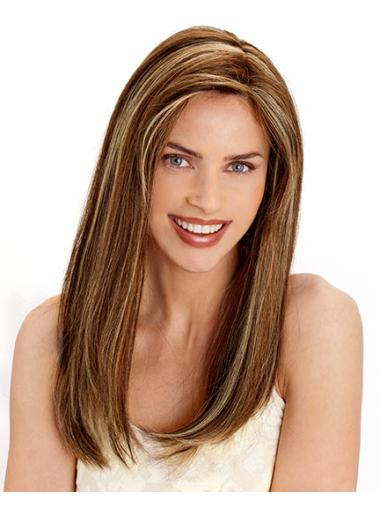 Long Brown Straight Real Hair Wigs