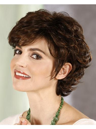 Fashion Brown Curly Synthetic Short Wigs