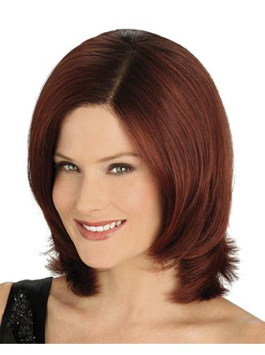 Chin Length Auburn Lace Front Wigs