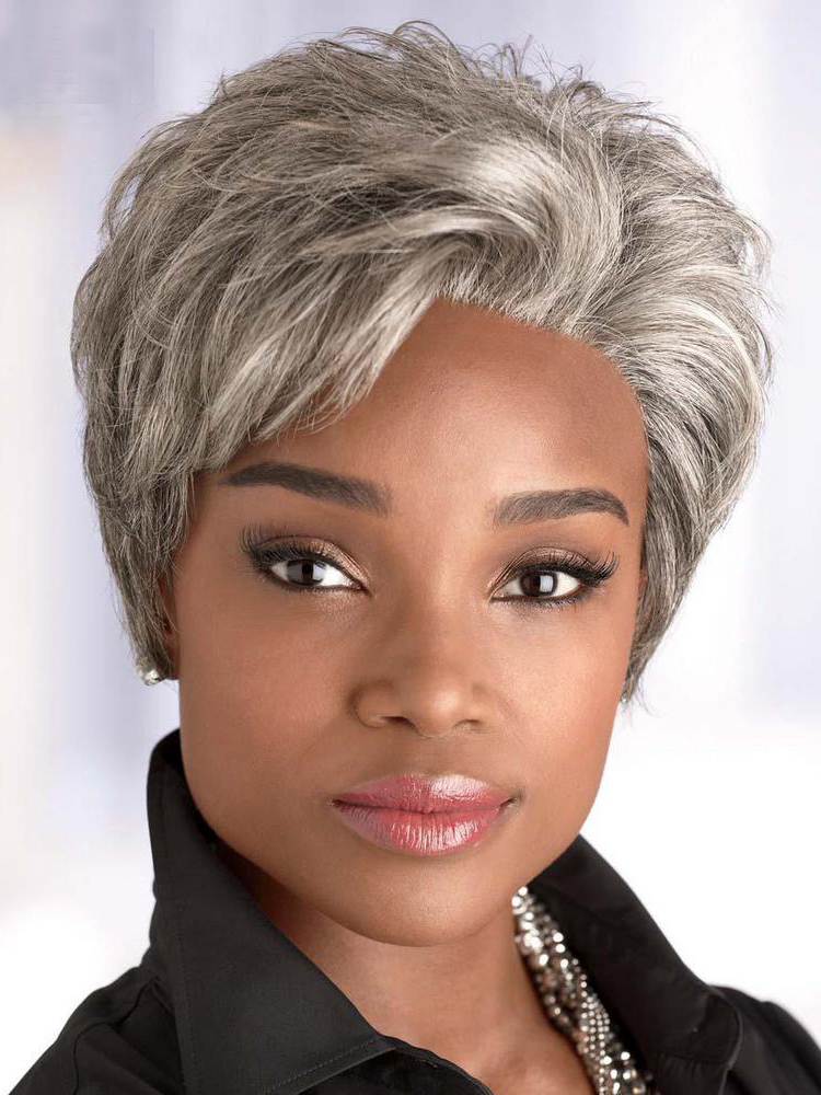 Short Straight Synthetic Wigs For Black Women Bun Style