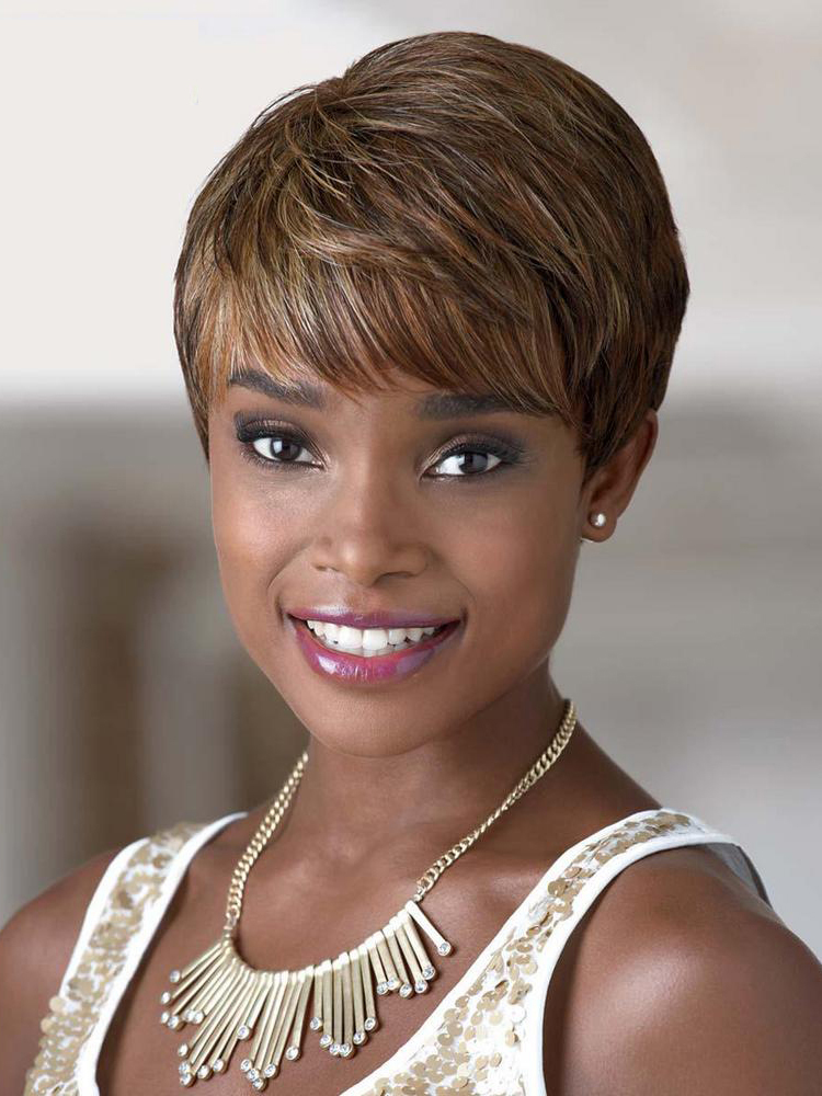 Short Blonde Straight Synthetic Wigs for Black Women, African American Half Wigs and Falls ...